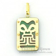 18K Gold Anh�nger und TahitiPerlmutt - Dimensionen = 24 X 16 mm - F�lle